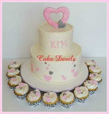 Heart Bridal Shower Cake / Cupcake Toppers