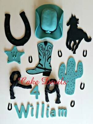Cowboy Country Western Cake Topper Kit, handmade edible, fondant, cowboy hat, cactus, and horseshoe