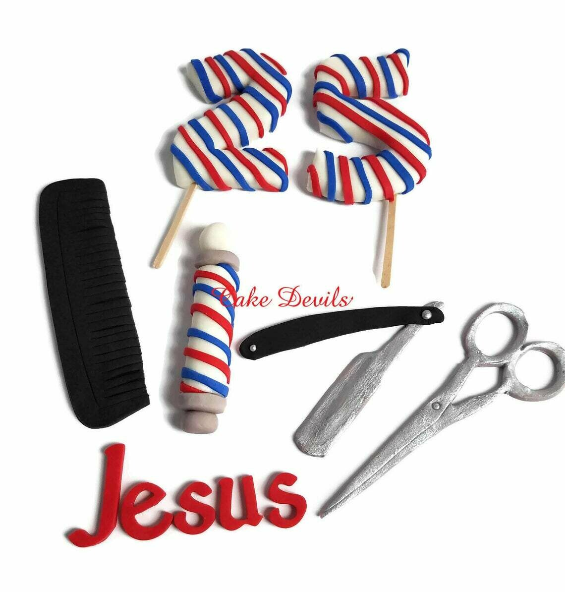 Barber Shop Cake Toppers, Fondant Comb & Scissors Cake Toppers