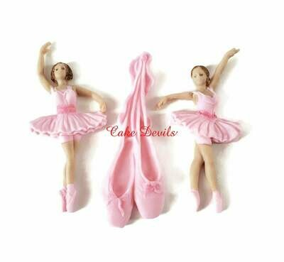 Ballerina Cake Toppers, Ballet Slippers Fondant Birthday Cake Decorations, Ballet Cake, fondant, handmade edible, Ballerina Birthday Party Decorations