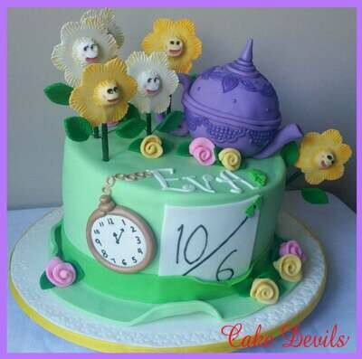 Alice in Wonderland Whimsical Cake Topper Kit, Fondant Tea Pot Cake Topper, Pocket Watch and Happy Flowers