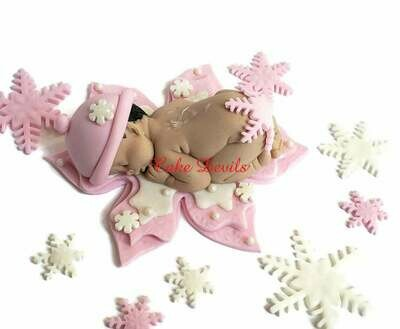 Fondant Snowflake Baby Shower Cake Topper, Blue or Pink Winter Baby