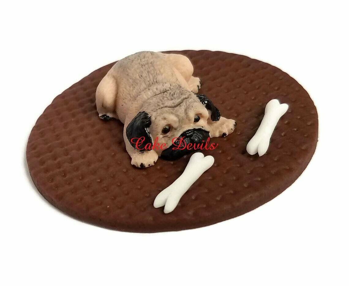 Fondant Pug Cake Topper, Small Pug Cake Decoration