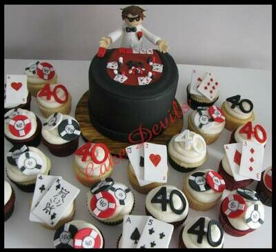 Casino Cupcake Toppers, Handmade edible, Fondant, Casino Cake Decorations, playing card toppers, fondant poker chips, edible casino chips