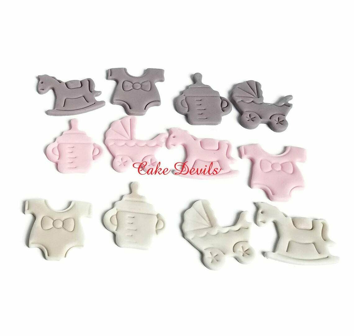 Fondant Baby Shower Cupcake Toppers of bottle, onesie, rocking horse, and stroller