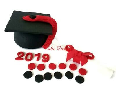 Graduation Cake Kit, Fondant Graduation Toppers, handmade edible, fondant, Graduation Cake Decorations, Cap and Diplomia