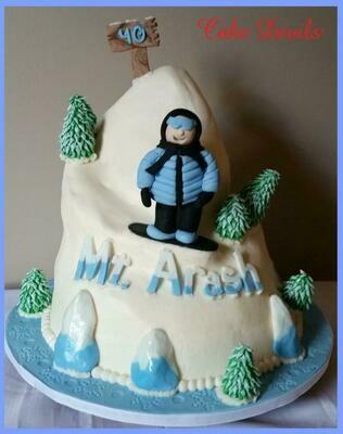 Snowboarder Fondant Cake Topper Kit, Snowboard Cake Decorations, Ski Cake Decorations, WInter Cake, Fondant trees, Handmade Edible