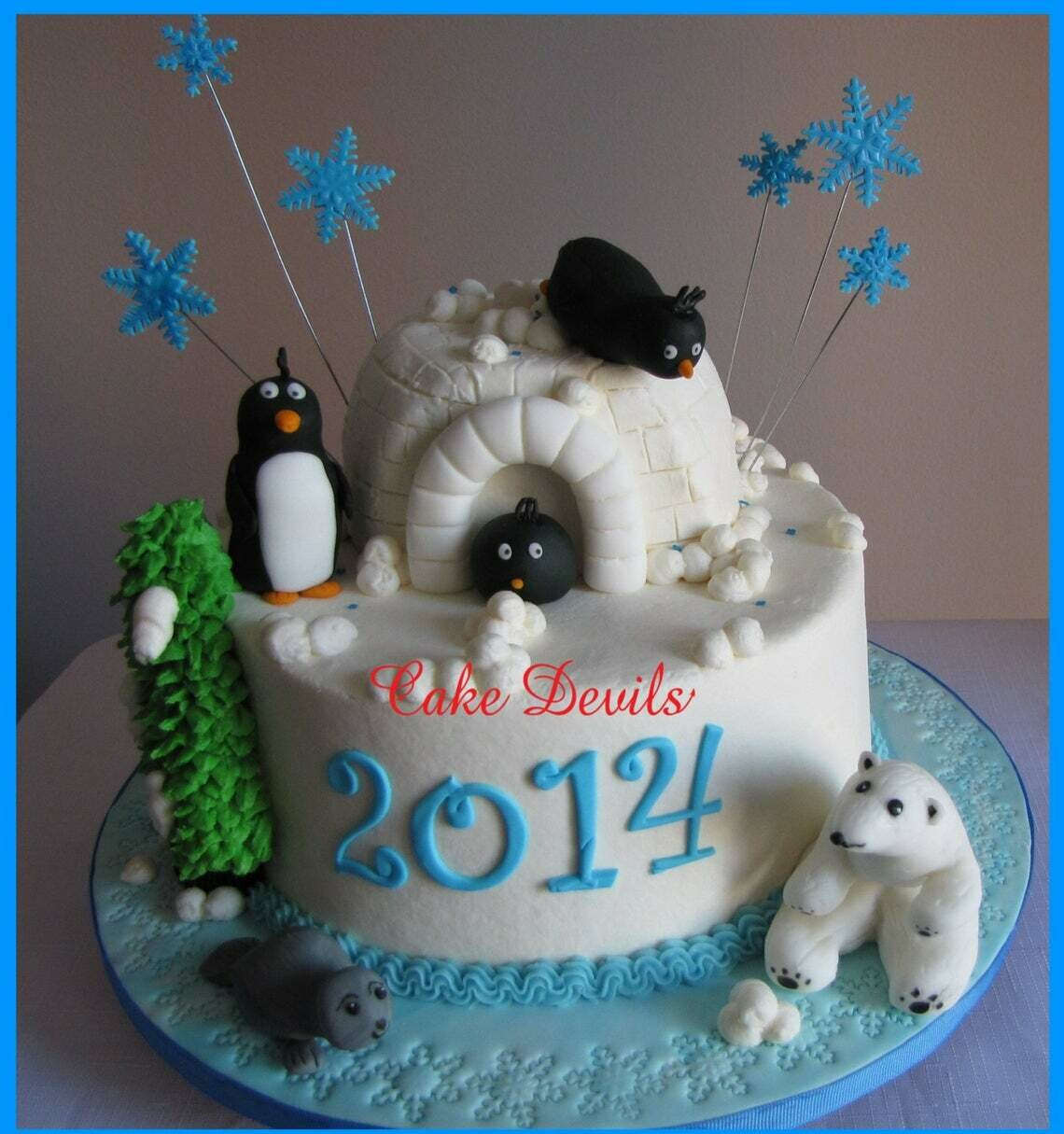 Winter Animal Fondant Cake Topper Kit, Penguin, Polar Bear, Baby Seal Cake Decorations, handmade edible, Igloo cake