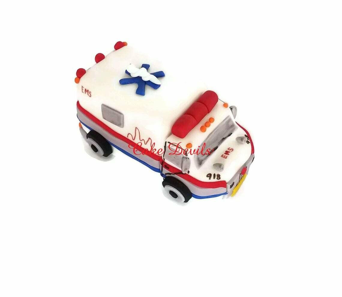 Ambulance Cake Topper, Fondant, Handmade Edible, ambulance cake decorations, medical cake topper, doctor, emt, nurse