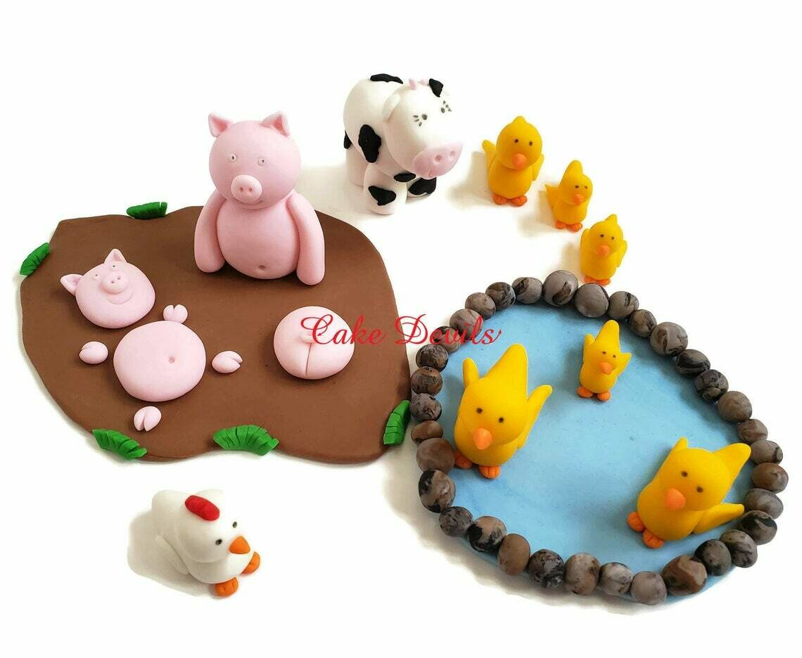 Barn Animal Fondant Cake Topper Kit, Farm Animal Cake Decorations, Barn Cake Decorations, Fondant, Handmade Edible