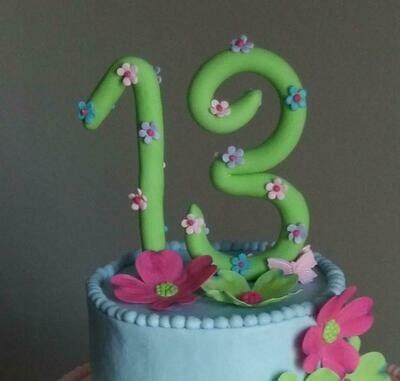 Handmade Fondant Number Cake Topper, Birthday Cake Decorations, Milestone Birthday, Number Cake Topper