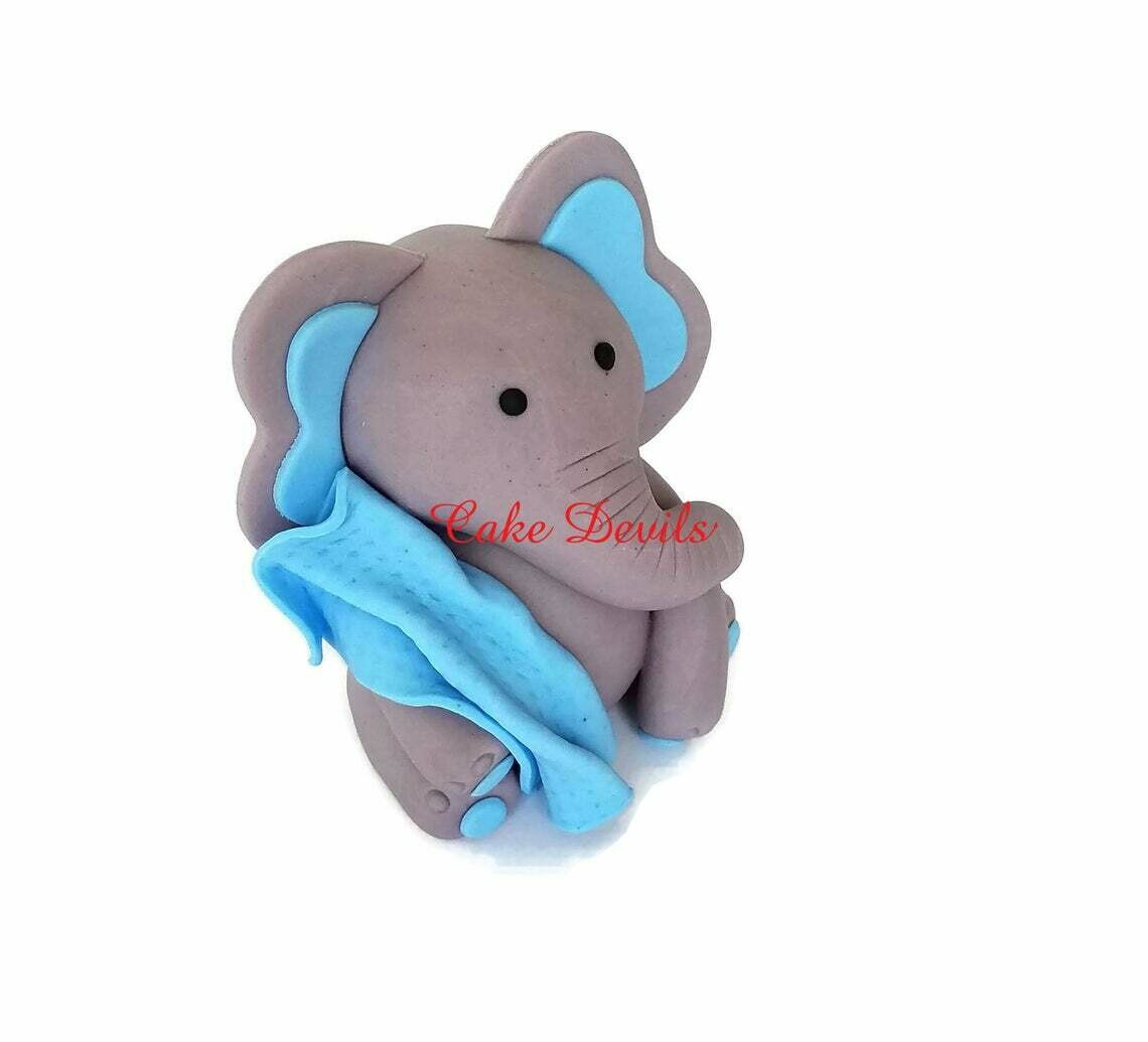 Fondant Elephant Cake Topper with Blanket, Great for Elephant Baby Shower Cake Decorations, Handmade Elephant