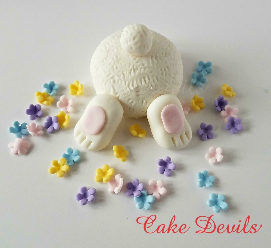 Easter Bunny Butt Cake Topper with Flowers