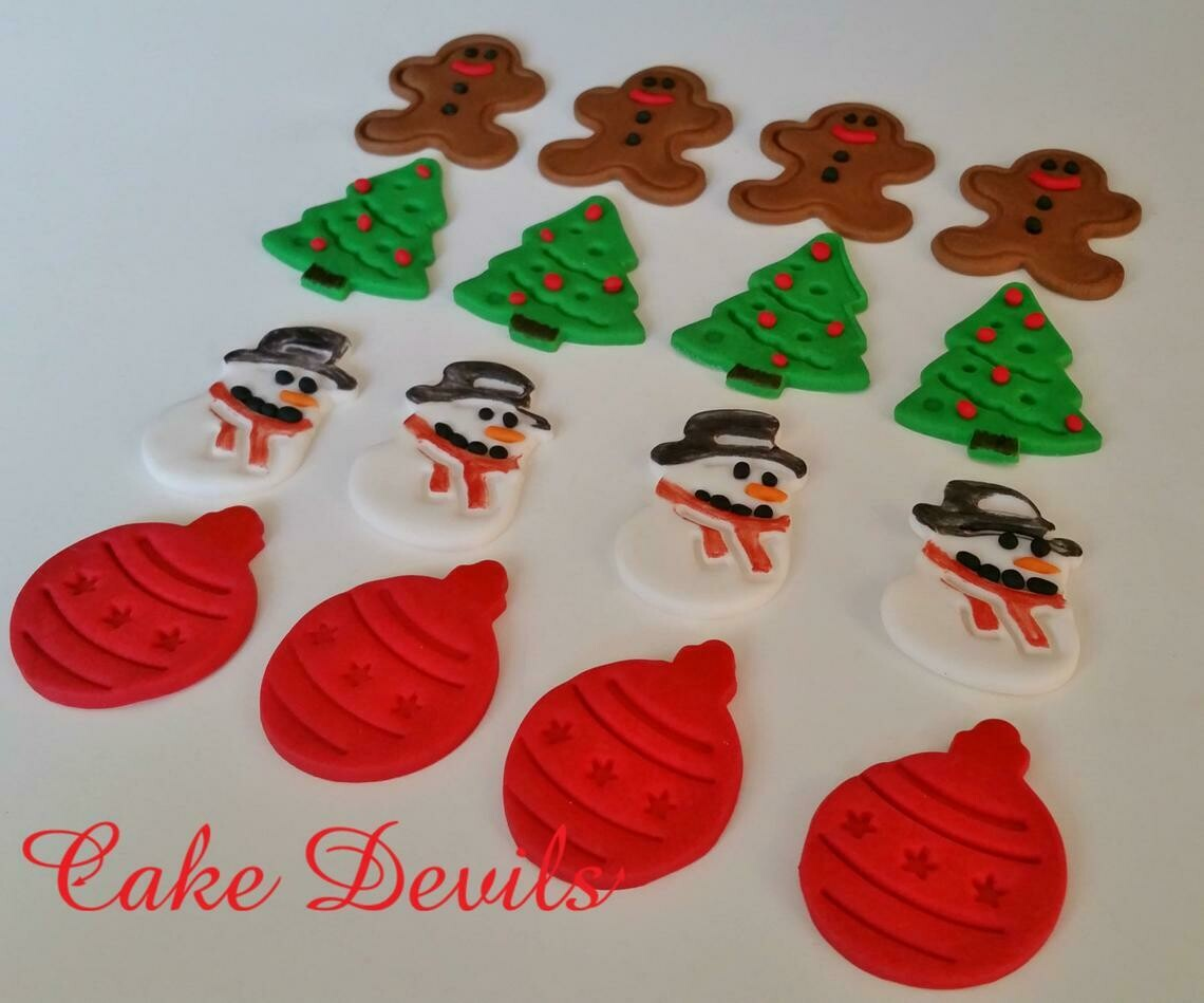 Christmas Cake Toppers, Fondant Snowman, Gingerbread Man Cake, Christmas Tree, Christmas Ornaments,Holiday Cake Decorations, Cupcake toppers