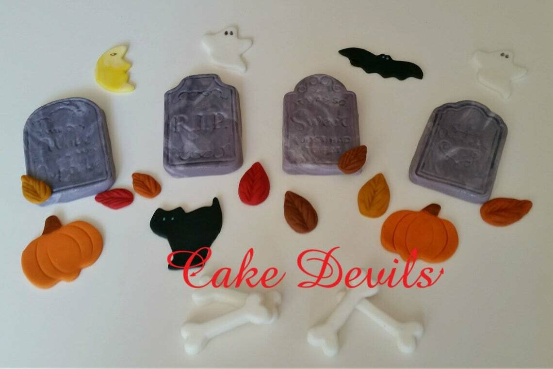Tombstone Fondant Cake Decorations, Halloween Cake Toppers, Ghost, bones, Pumpkin, Bat, Cat, moon, fall leaves, Fondant cupcake decorations