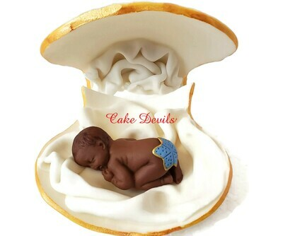 Mermaid or Mate Gender Reveal Cake Topper, Fondant Sleeping Baby in a Clam shell Baby Shower Cake Topper