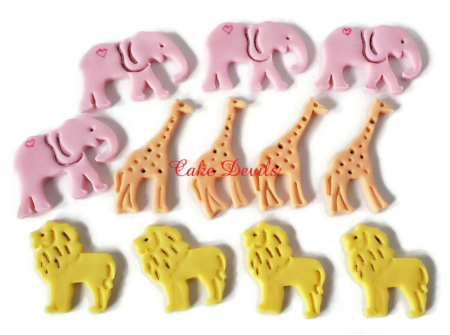 Lion, Elephant, and Giraffe fondant Cupcake Toppers