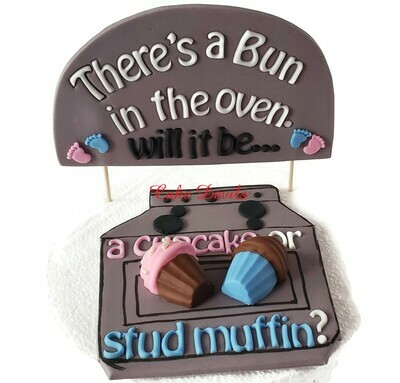 Cupcake or Stud Muffin Fondant Gender Reveal Cake Topper