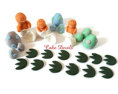 Fondant Hatching Baby Dinosaur Cake Toppers with Dinosaur Eggs and footprints- Great for a baby shower or birthday cake