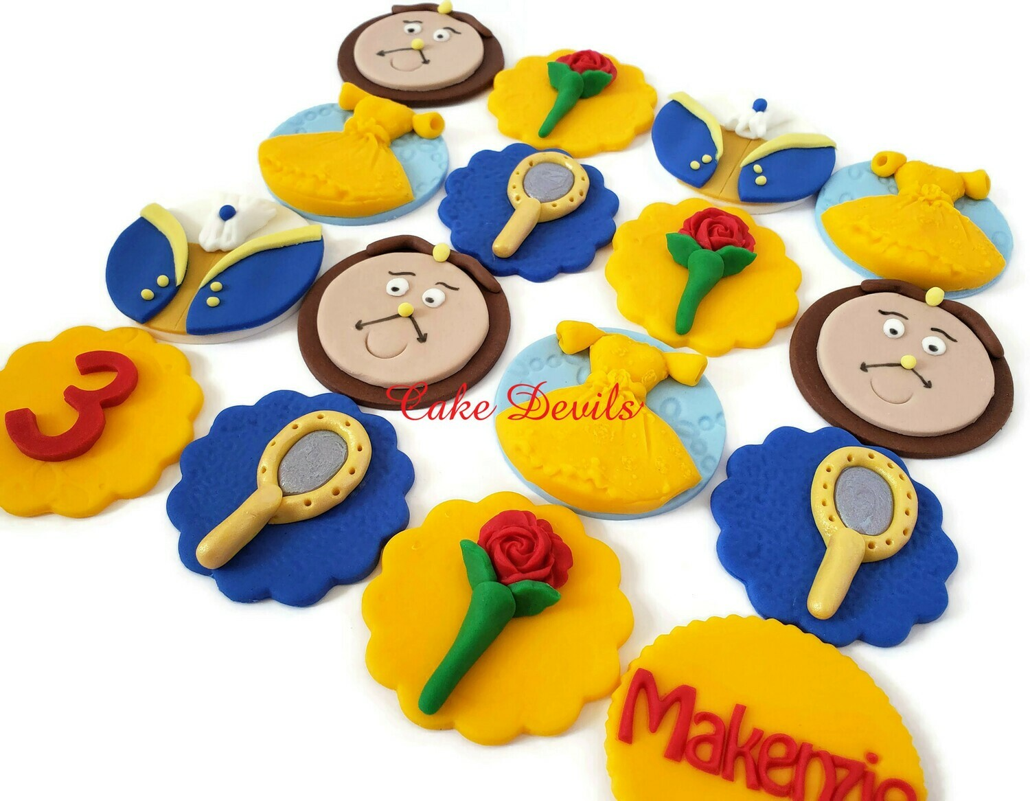 Fondant Beauty and the Beast Cupcake Toppers
