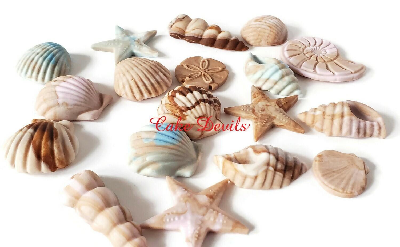 Fondant Sea Shell Cake / Cupcake Toppers