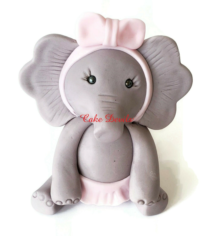 Ballerina Elephant Fondant Cake Topper, Great for Elephant Birthday Party or Baby Shower Cake Decoration, Handmade Elephant