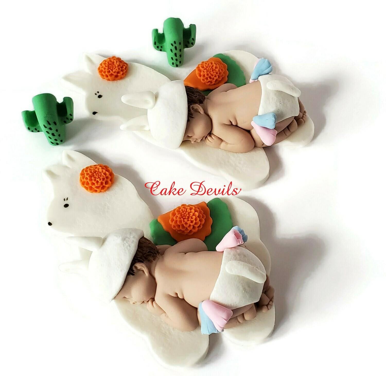 Fondant Llama Baby Shower Cake Topper
