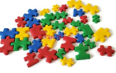 Puzzle Pieces Fondant Cake Decorations and Cupcake Toppers