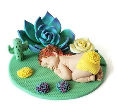 Succulent Baby Shower Cake Topper, Fondant Cactus Sleeping baby Cake Decorations, Rustic Desert Rose Garden