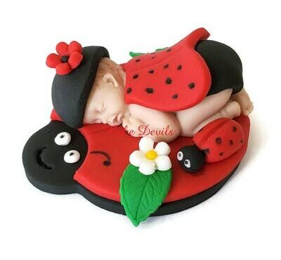 Ladybug Baby Shower Cake Topper, fondant