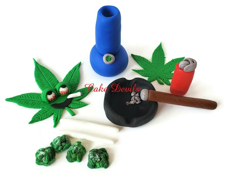Weed Cake Topper set, Fondant Pot Leaf, Fondant Marijuana Cake Decorations, Cannabis, joints, bong, ash tray