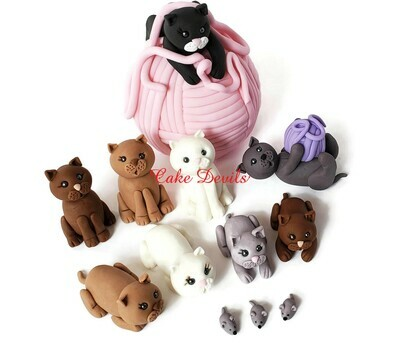 Fondant Cat Cake Toppers, Cats, Yarn, Mice, Handmade Cats with Yarn Balls Cake Decorations great for a birthday or retirement cake!