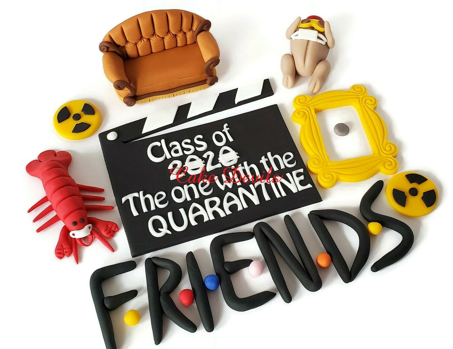 Friends Quarantine Graduation Cake Toppers, Class of 2020, Fondant Couch, lobster, turkey, clapboard, frame