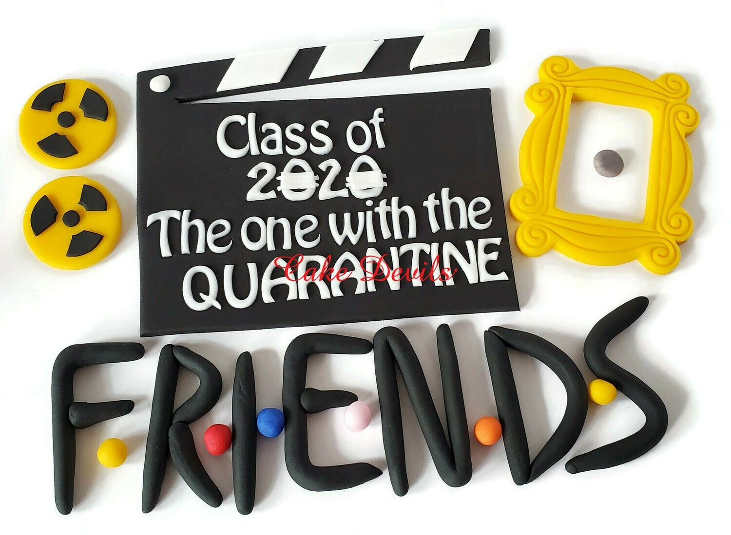 Friends Quarantine Graduation fondant Cake Toppers, Class of 2020 Clapboard, Frame, bio hazard, and Letters cake decorations