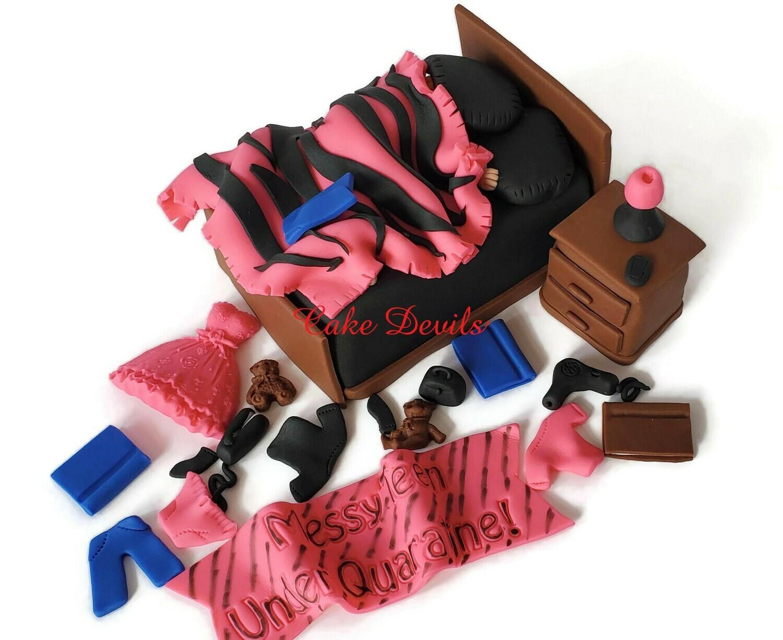 Messy Teen Under Quarantine Birthday Celebration! Messy Bed Room Cake, Handmade Fondant cake toppers for teenage girl or boy birthday