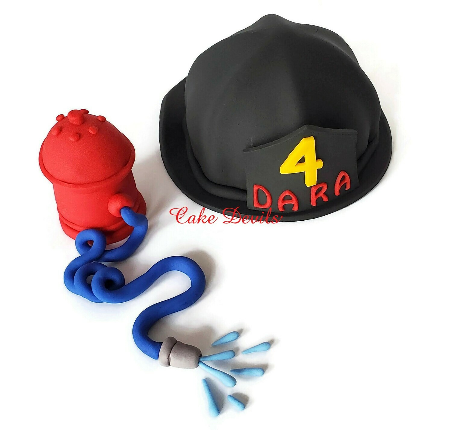 Firefighter Cake Toppers, Fire Hat and Fire Hydrant
