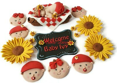 Picnic and Sunflower Baby Shower Cake Toppers and Baby Face Fondant Cupcake Toppers
