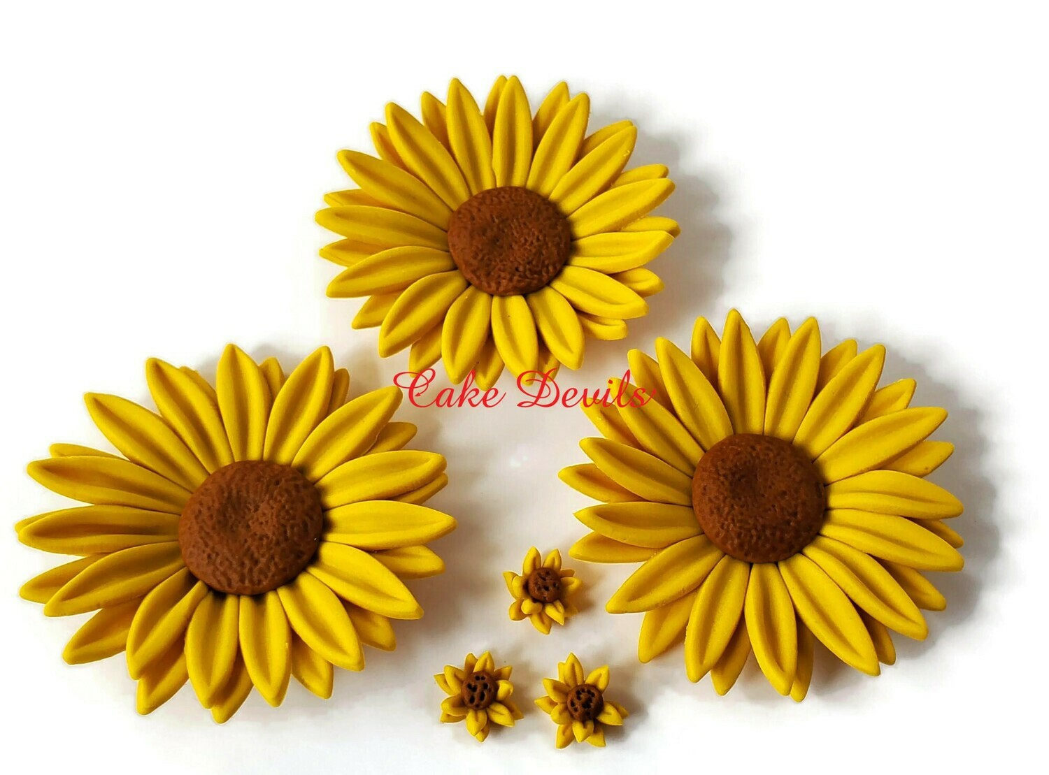Fondant Sunflower Cake Toppers,  wedding cake, birthday cake, baby shower cake, and more!