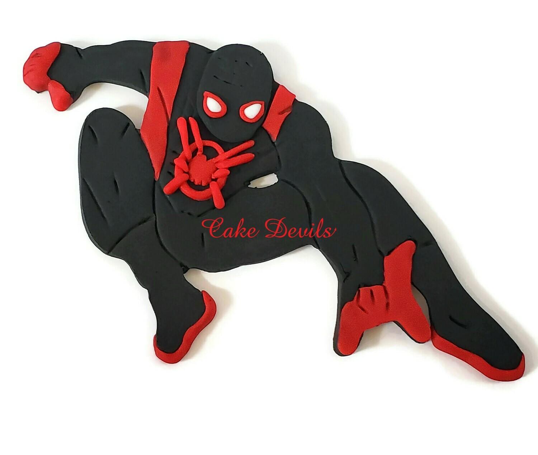 Miles Morales, Spider Verse Spiderman Cake Topper, fondant