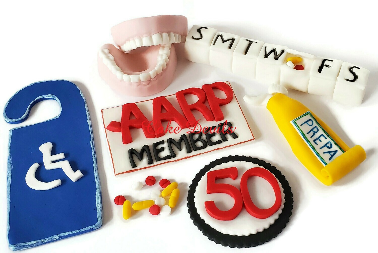 Over the Hill Cake Toppers, Fondant Cake Decoration including Dentures Cake Topper, Pill Case, Handicap Sign, Hemrroid Cream, pills