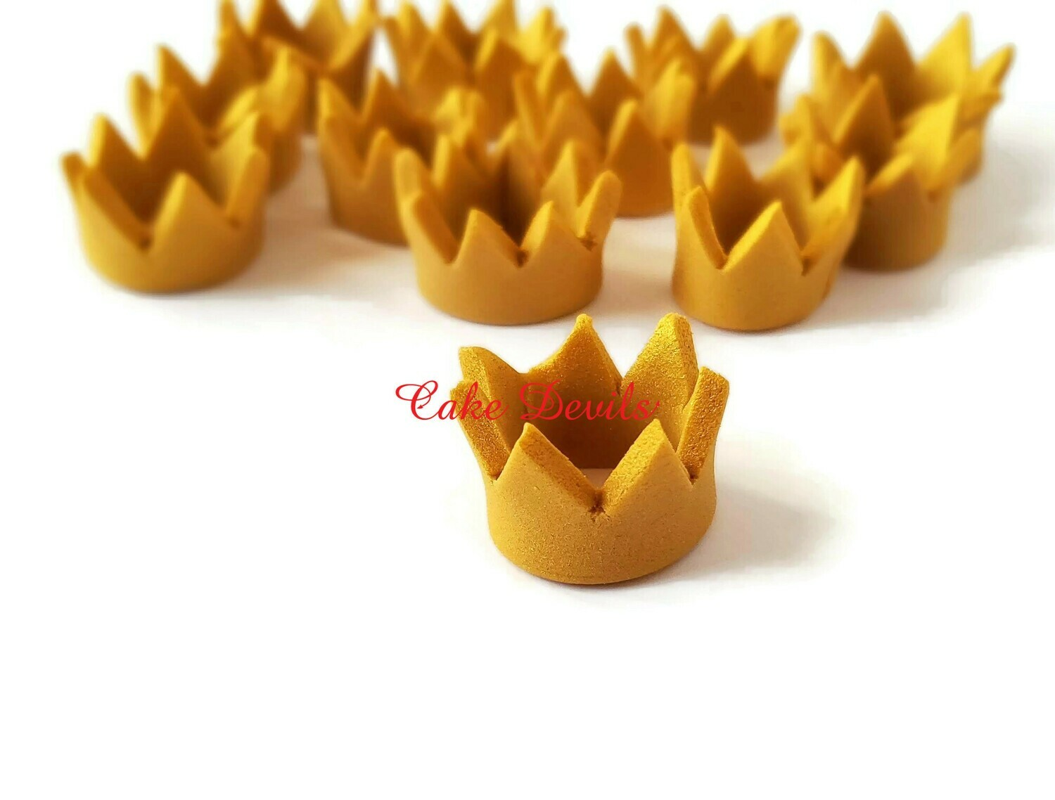 Gold Crown Fondant Cupcake Toppers, Great for a Royal Baby Shower or Wild One Birthday Party