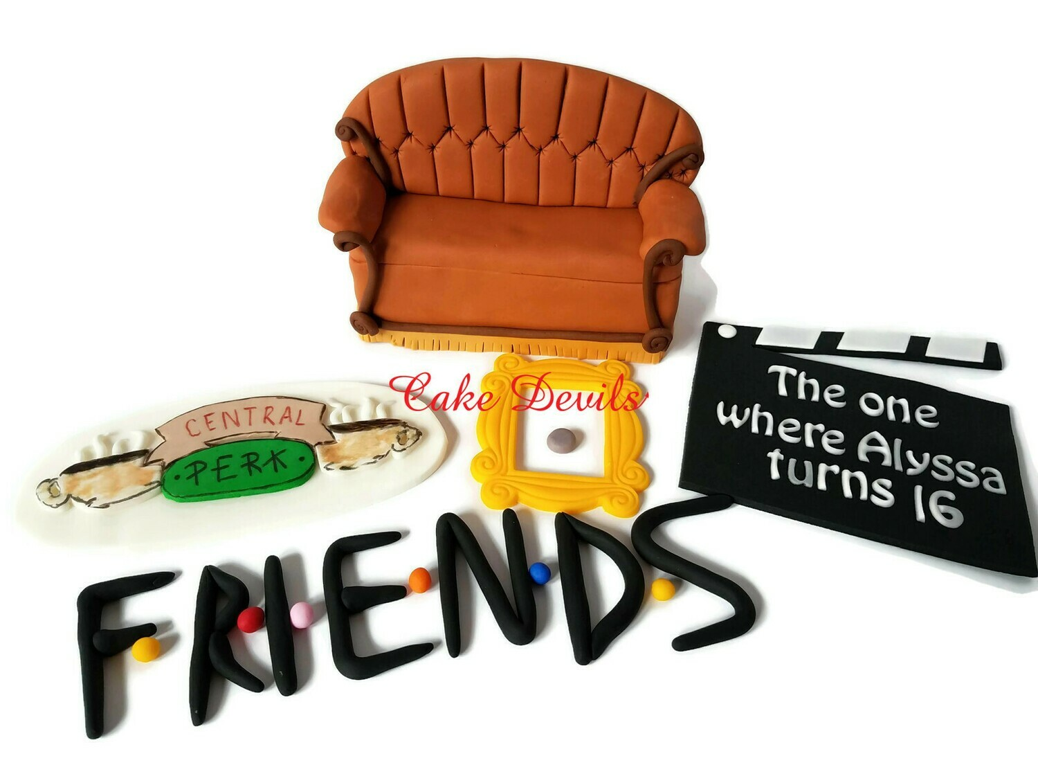 Friends Large Couch and Coffee Cups Cake Topper Kit