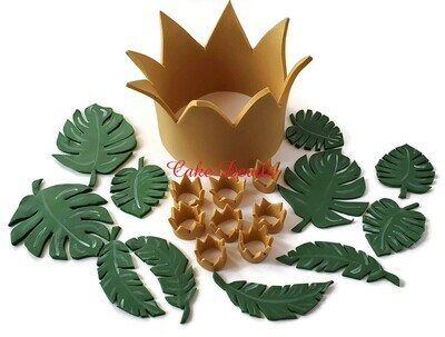 King of The Jungle Fondant Cake Toppers perfect for a Wild One Birthday Party, Fondant Crown, Monstera Leaves Cake Toppers, Palm Leaves