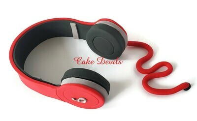 Fondant Headphones Cake Topper, Music Cake Decorations for DJ, Disc Jockey, Gamer, Video Watcher