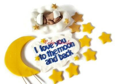 I love you to the Moon and Back Baby Shower Cake Toppers, Fondant Sleeping Baby on Cloud