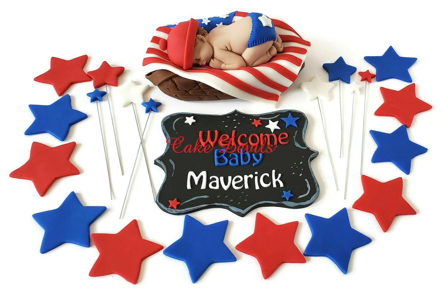 Red, White, and Blue, Patriotic Baby Shower Cake Toppers