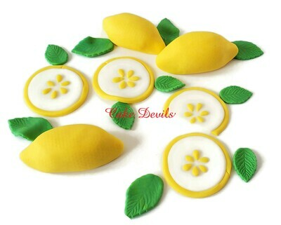 Fondant Lemons and Lemon Slices Cake Toppers