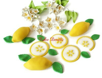 Fondant Lemons and Flowers Cake Toppers
