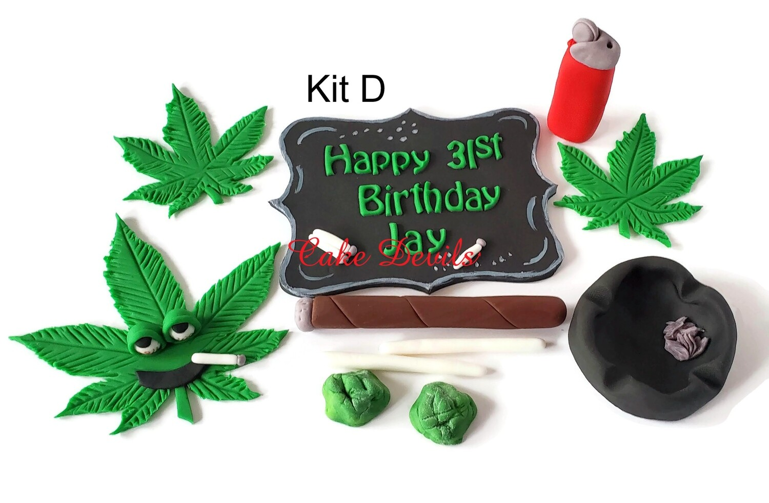 Pot Leaf Birthday Cake Topper set, Fondant Pot Leaf, Plaque with Joints