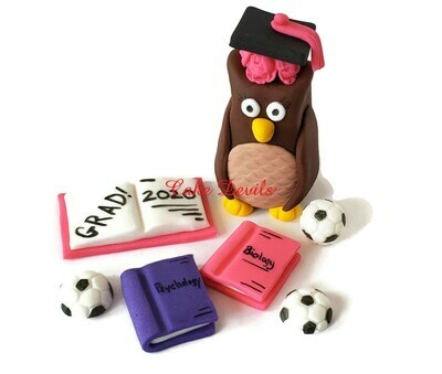 Fondant Owl with Graduation Cap Cake Topper